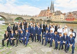 The Choir in front of the Old Stone Bridge in Regensburg.